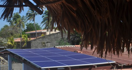 Solar panels over patio