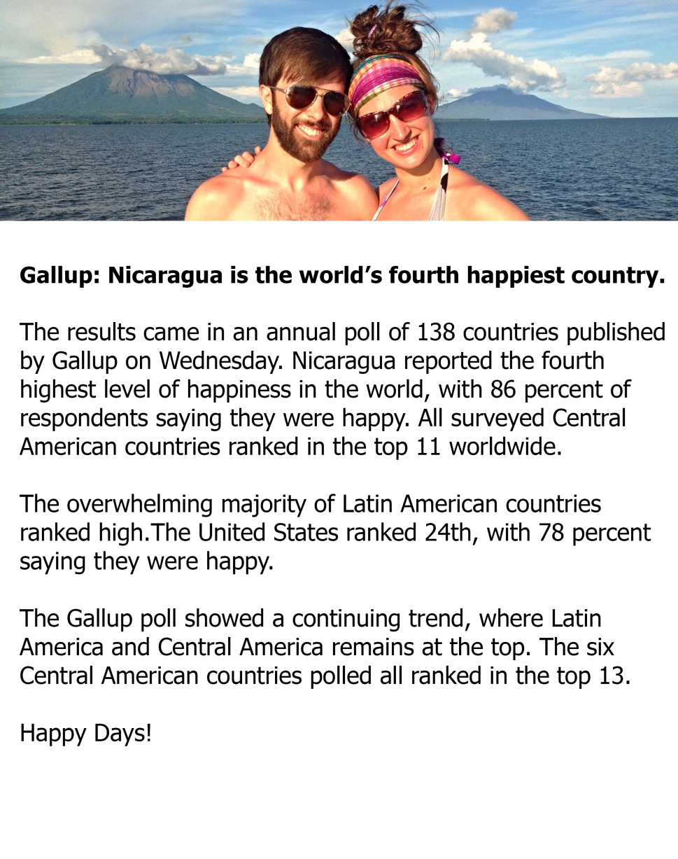 . Nicaragua reported the fourth highest level of happiness in the world, with 82 percent of respondents saying they were happy.